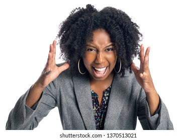 Black African American female businesswoman isolated on a white background looking angry and frustrated or stressed