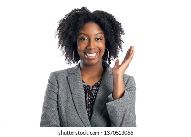 Black African American female businesswoman isolated on a white background looking happy and successfull
