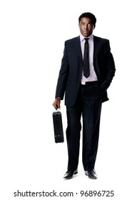 Black african businessman standing holding a briefcase isolated on white