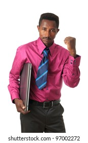 Black African businessman with tie and afro American computer isolated metisse