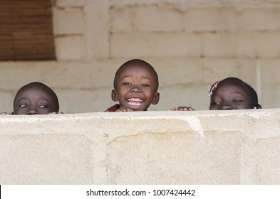 Black African Children Smiling Playing Laughing Copy Space