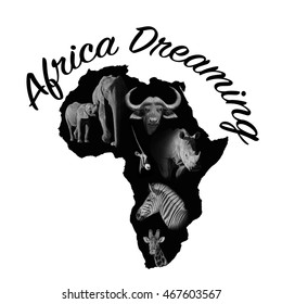 Black African continent outline containing examples of African wildlife
