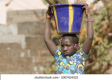 Black African Ethnicity Girl Working - Child Labor Symbol