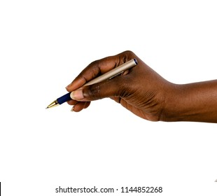 Black African female(woman) hand holding a pen isolated white surface, with arm writing.