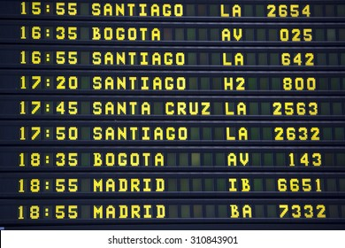 Black airport departures board with mainly flights to cities in South America and south Europe. Airport of Lima. Peru