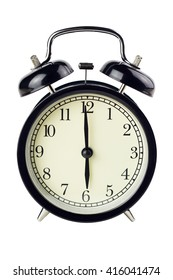 Black alarm clock isolated on white.