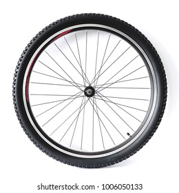 Black and alloy bicycle wheel isolated on white background