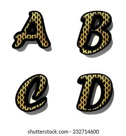 black alphabet letter set with gold on white