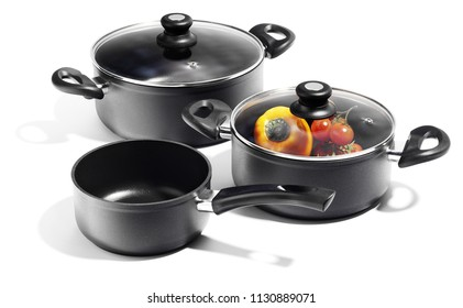 black aluminium stewpots and pan, cookware isolated