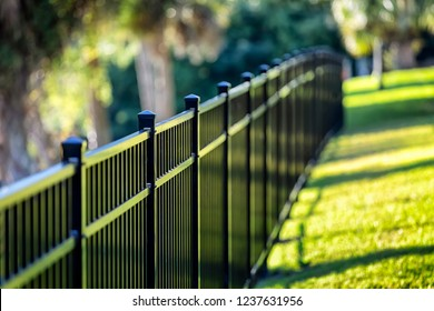 Black Aluminum Fence 3 Rails