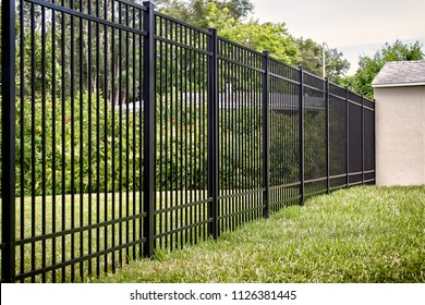 Black Aluminum Fence 4 Rails