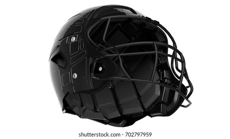 Black american football helmet. 3D illustration. 3D high quality rendering.