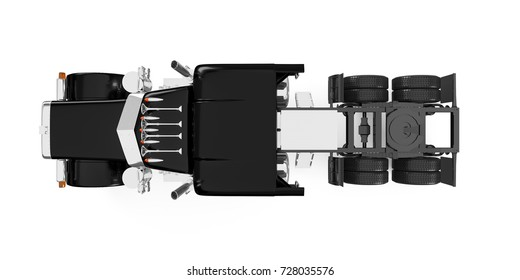 Black American truck top view isolated on white background. 3D Rendering, Illustration.