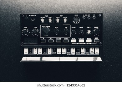 black analog synthesizer, close-up view