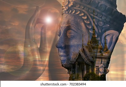 black Ancient buddha statue with light