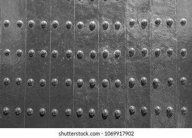 Black ancient castle steel gate background