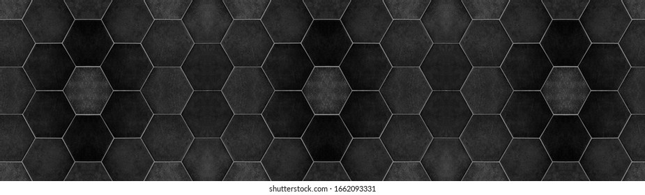 Black anhracite modern tile mirror made of hexagon tiles texture background banner panorama