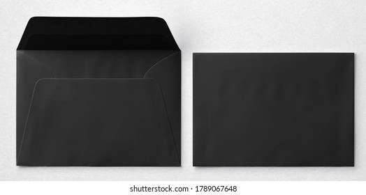Black announcement envelope set mockup isolated on white background. Format A5.