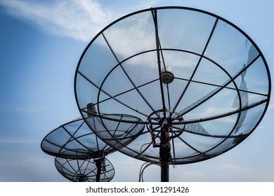 black antenna communication satellite dish