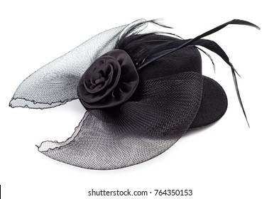 Black antique ladies hat with flower isolated on white background