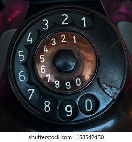 Black antique Telephone numbers vintage style.Retro and classic