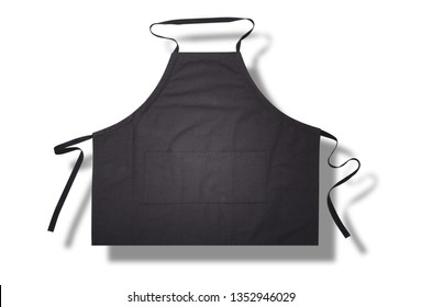 Black apron with shadow for kitchen top view. Isolated on white background. Mock up space for text