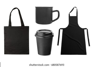 Black apron, tote bag, coffee cup, coffee mug isolated on white background. Group of objects for branding