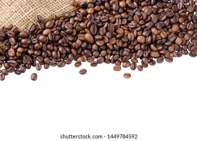 Black arabica, robusta coffee  beans isolated on white background with copyspace for text