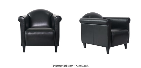 Black Armchair in two angles on white background