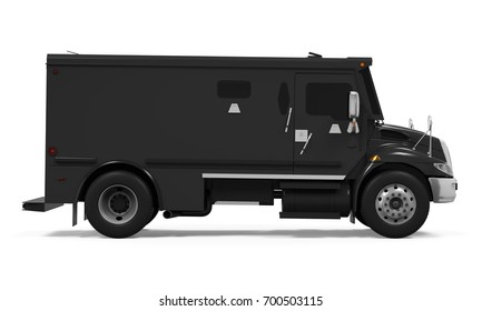 Black Armored Truck Isolated. 3D rendering