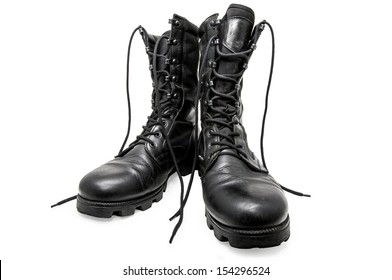 Black army shoes isolated on a white background. Frontal/Black army shoes
