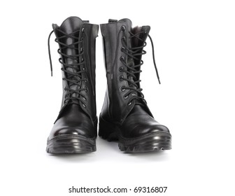 Black army shoes isolated on a white background