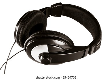 Black audio headphones isolated on white