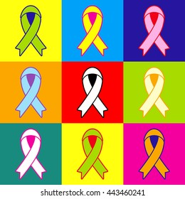 Black awareness ribbon sign. Pop-art style colorful icons set with 3 colors.