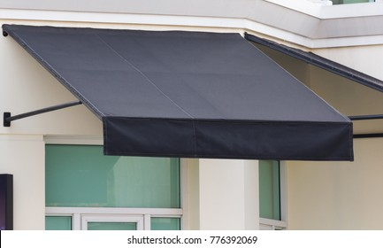 Black Awning And Steel Structure Over Window Frame Outdoor House Decoration