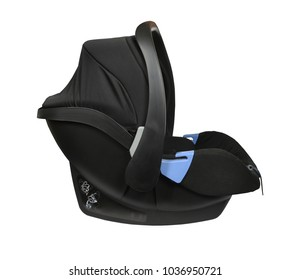 Black baby car seat isolated