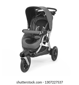 Black Baby Stroller Isolated on White Background. Side View of Travel System with Carry Cot. Infant Carriage Seat. Pram with Canopy and Front Swivel Wheel. Pushchair with Showerproof Hood