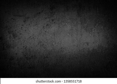 Black background  dark slate stone texture vignette. Concrete surface.