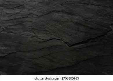 black background. Dark wallpaper blackboard. Flat lay top view copy space Grunge texture.