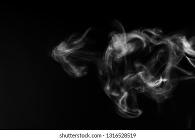 Black background with white smoke mist overlay effect. Nature motion steam swirl wave  of pollution, cigarette, gas, dry ice with copy space for banner