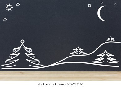 Black background with white trees and hills at night.