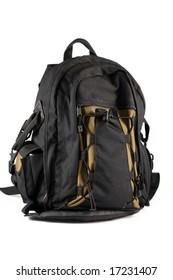 black backpack camera case isolated on white