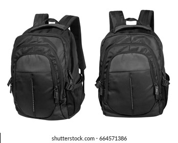 Black backpack isolated on white with clipping path.