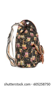 Black backpack with owl pattern isolated on white