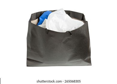 black bag with purchases on a white background