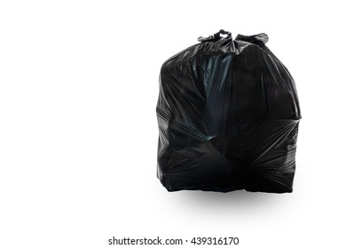 Black bag of rubbish isolated on white background , with clipping path