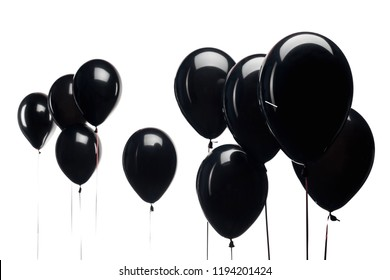 black balloons isolated on white background for black friday