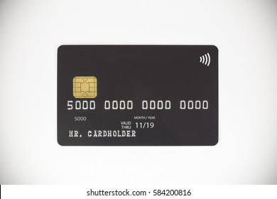 Black bank credit card on white background
