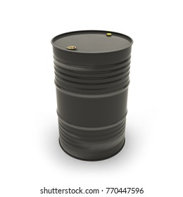Black barrel on a white background (3d illustration)