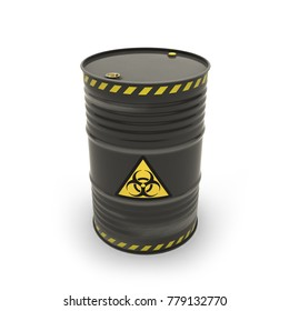 Black barrel with toxic materials (3d illustration)